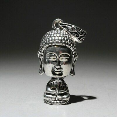 Collectable Chinese Miao Silver Carve Delicate Lovely Auspicious Buddha Pendant