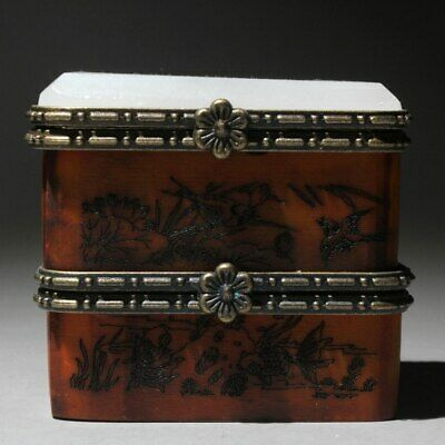Collectable Chinese Jade Wood Hand-Carved Fish & Bird & Knight  Chic Jewelry Box