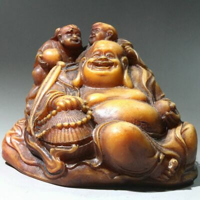 China Collect Shoushan Stone Hand-Carved Happy Buddha & Children Delicate Statue
