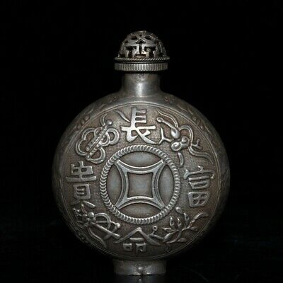 Collectable China Old Miao Silver Hand-Carved Moral Auspicious Rare Snuff Bottle