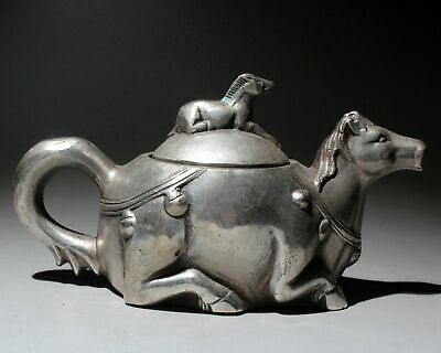 China Qianlong Years Collectable Old Miao Silver Hand-Carved Horse Unique Teapot