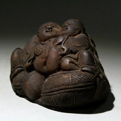 Collectable Old Shoushan Stone Hand-Carved Children Hug Peach Lovely Chic Statue