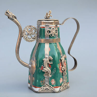Collectable Old Miao Silver & Franz Porcelain Hand-Carved Dragon Phoenix Teapot