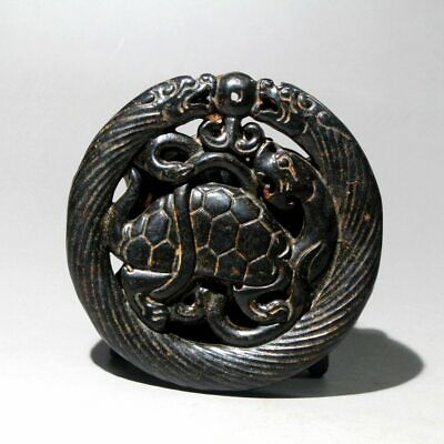 Collectable China Old Jade Hand-Carved Turtle Moral Bring Luck Delicate Pendant