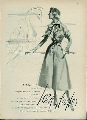 1950 Nice Dress Art Ad For Lord & Taylor