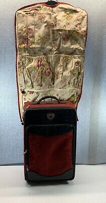 """Brighton Ruby Red Jacquard Black Croc Leather 22"""" Carry On Rolling Luggage"""