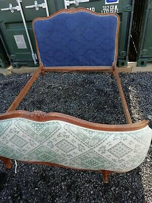 French Antique Vintage Louis XV Style Capitonne Double Bed Frame