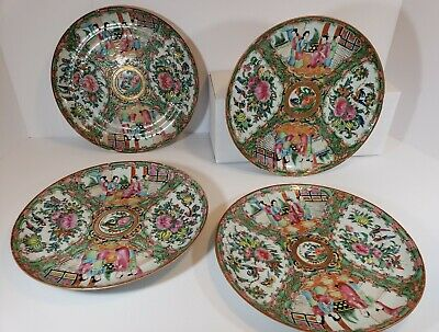 Set of 4 Chinese Rose Medallion Porcelain Plates 1850's to 1890