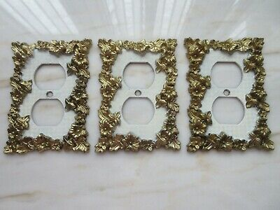 CHARM N STYLE Brass 3-Plug Outlet Wall Covers Gold Flowers w/White VINTAGE