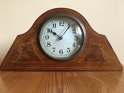 Antique Clock French Japy Freres Wooden Inlaid.