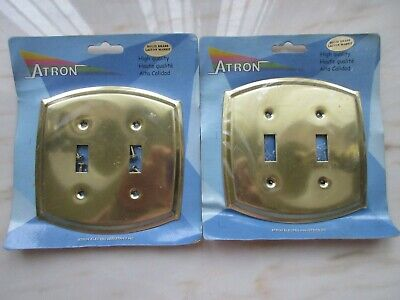 ATRON Colonial SOLID BRASS 2-Double Light Switch Wall Covers NEW SEALED