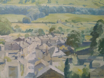 Oilpainting on hardboard, framed, Marie Hartley, View on Askrigg 1978, book incl