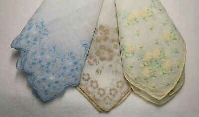 Excellent Lot Of 3 Nylon Sheer Flocked Hankies White With Blue, Yellow, Gold
