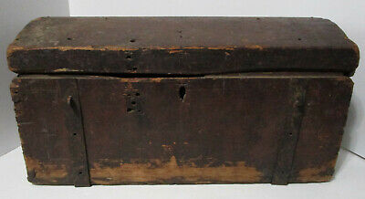 Antique Colonial Primitive Wooden Dome Top Trunk Folk Art Original Finish