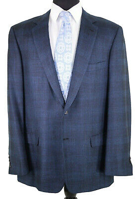 Current Brioni Sport Coat US 44L Silk Cashmere Blend Blue Navy Plaid Millennio