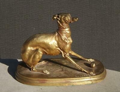 P. J. Mene Bronce Whippet Galgo Perro Escultura Francesa y 19th Siglo