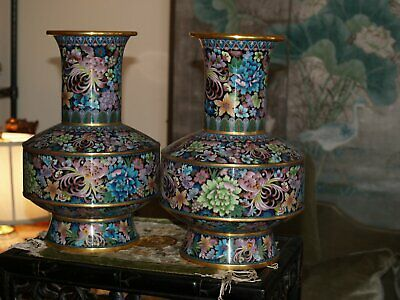 Rare And Beautiful Antique Chinese Cloisonne Vases Mid 20Th Century