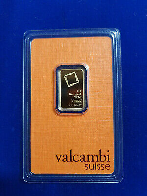 🔥 5 gram Gold Bar - Valcambi Suisse - 999.9 Fine in Sealed Assay SHIPS IN 1 DAY