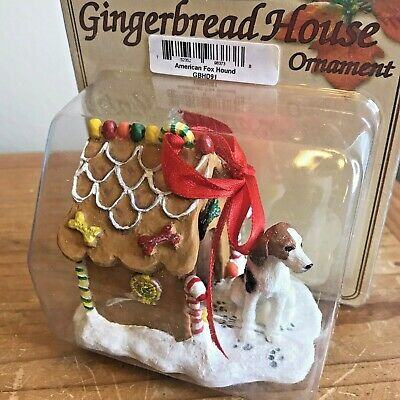 American Fox Hound Dog Christmas Ornament Gingerbread House Ornament New