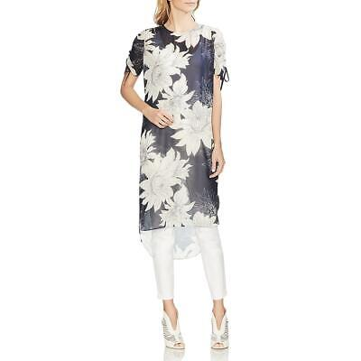 Vince Camuto Womens Navy Chiffon Floral Hi-Low Party Dress M BHFO 2734