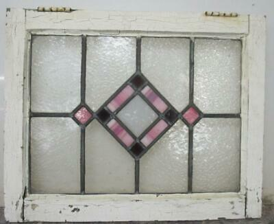 "OLD ENGLISH LEADED STAINED GLASS WINDOW Pretty Pink Diamond 20.5"" x 14.5"""