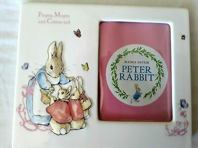 Flopsy Mopsy Cottontail ceramic photo frame Beatrix Potter Peter Rabbit in box