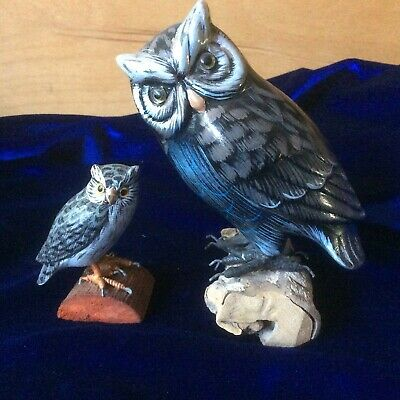 Beautiful 2 Owls Hand Carved & Painted - On Drift Wood - OWL Statue Figurine