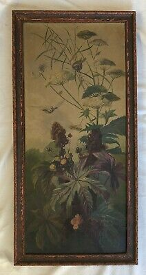 Outstanding Antique Autumn Botanical w/Birds Oil Painting on Canvas Late 1800s