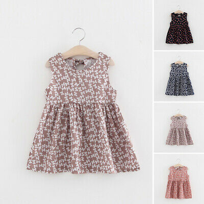 Toddlers Dress Baby Girls Cotton Dress Pleated A-Line Fashion Sleeveless