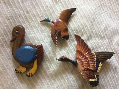Vintage 3 PINS Hand Carved Wooden Decoy Duck & Young Duck Brooch Pin