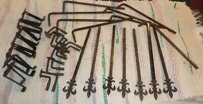 Vintage Metal Curtain Tie Back Swing arm Rods! Fancy Victorian With Hardware!