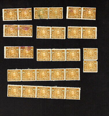 Canada 20 Used King George V 20 Cent Olive Yellow Excise Tax Revenue Multiples