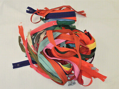 44 ZIPPERS- ALL NEW-ASSORTED SIZES AND COLORS-  some metal, some nylon