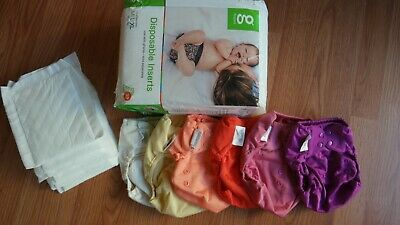 Flip cloth diaper cover lot of 6 covers in girls colors with pack of dsp inserts