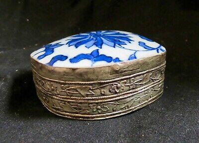 Antique Chinese Blue and White Porcelain Shard Silver Plated Box flower