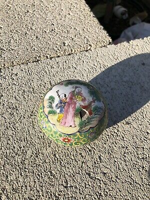 Chinese Antique Cloisonne Enamel Cover Round Box With Old Man