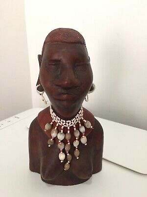 Beautiful Carved Wooden African Female Bust