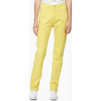 Calvin Klein Jeans Womens Yellow Denim Solid Straight Leg Jeans 31/30 BHFO 6256