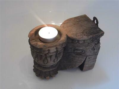 Antique Hand Carved Solid Teak Wood Candle Holder Wall Sconce Distressed Paint