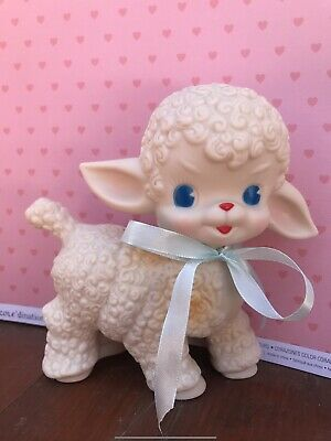 New Rubber Baby Lambs Squeaky Vintage Toy Sheep Nursery Retro Kitsch Decals