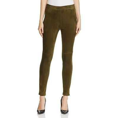 Elie Tahari Womens Roxanna Green Suede Skinny High Rise Leggings L BHFO 4623