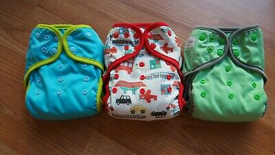 EcoAble All In One Day and Night cloth diaper lot of 3 with 3 bamboo inserts