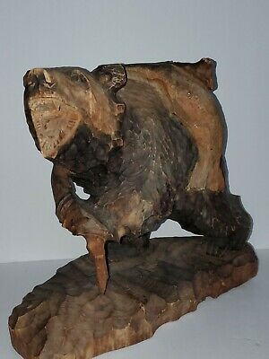 Vintage Japanese -AINU Hand Carved Wood BEAR THAT STOLE THE FISHERMANS SALMON
