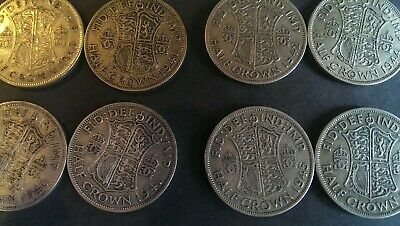 8 x Silver half crowns 50% George VI.