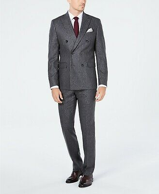 $600 Michael Kors Gray Stripe Double Breasted Wool Suit Mens 40R 33 x 32 NEW