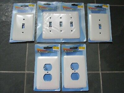 ATRON 3-Light Switch Plates + 2-Outlet Covers White METAL NEW NWT