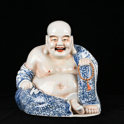 Old Chinese qing Dynasty Blue and white Porcelain carved Maitreya Statue 13.4""