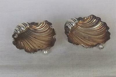 Exquisite Antique Pair Solid Sterling Silver Victorian Scallop Shell Salts 1897