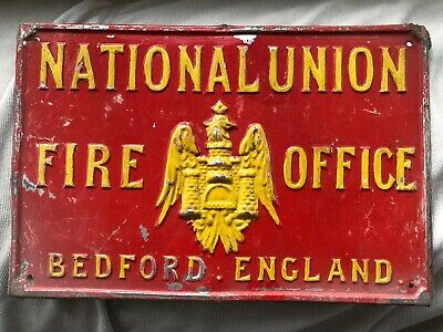 Antique Victorian Edwardian Painted Tin Fire Plaque Bedford England Enamel Sign