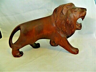 "Lion Statue Figurine, Dark Handcarved Wood, Rich Brown Color,Approx. 7"" Tall"